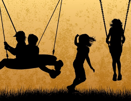 niños en area de juegos: Niños Silueta Vectores