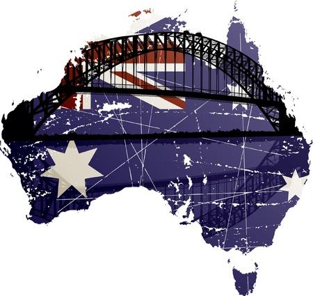 Australië Sydney Harbour Bridge Stock Illustratie