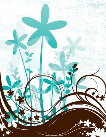 Grunge Bloemen Scene Stock Illustratie