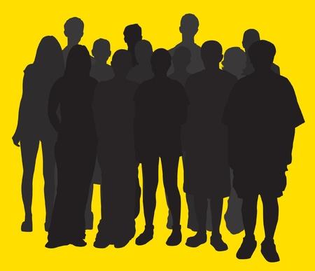 Groep Silhouette Stock Illustratie