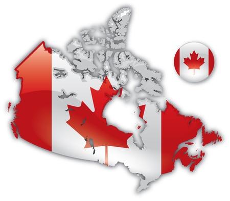 Gedetailleerde Kaart van Canada Stock Illustratie
