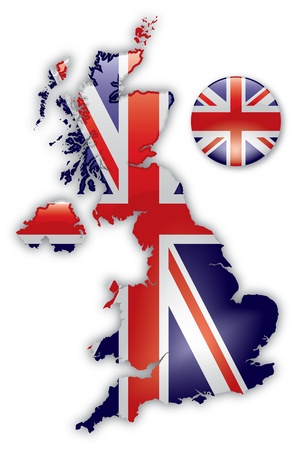 union jack: Detailed Map of Great Britain Illustration