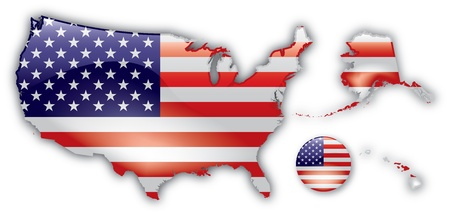 Detailed Map of The United States Stock Vector - 12857696