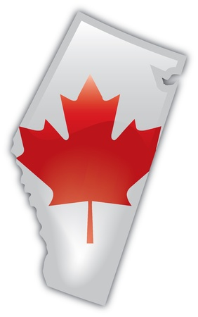 Detailed Map of Alberta Иллюстрация