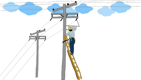 dangerous work: The electrician man Illustration