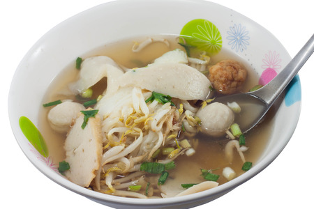 thai noodle soup: Thai Noodle Soup with fish ball on white background Stock Photo