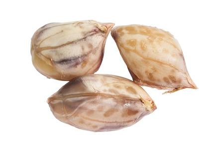 boil: Closeup of three brown boil peanut on white background Stock Photo