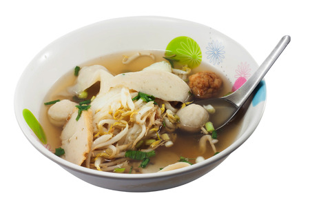 thai noodle soup: Thai Noodle Soup with fish ball in the bowl