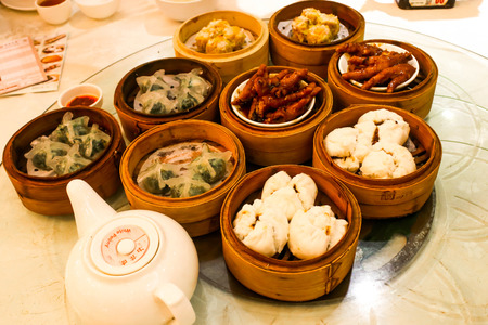 xCloseup of several Hongkong stlye steamed dumpling in morning