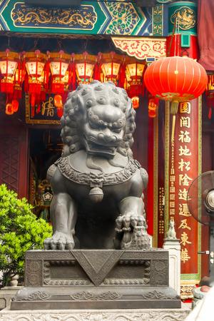 Closeup of Big Gray legendary lion statues in Wong Tai Sin Temple , Hong Kong
