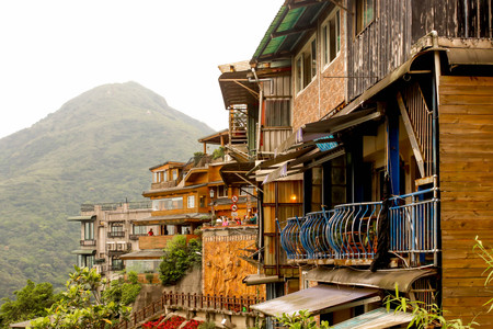 View of Jiufen restaurant buildings on the mountain Editorial