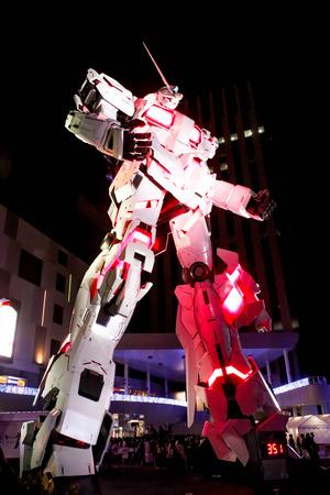 JAPAN - April 21th 2018 Night scene The legend of Gundam The real size model of Gundam robot in Odaiba, Tokyo