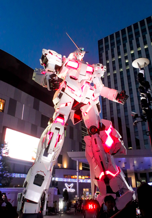 JAPAN - April 21th 2018 The legend of Gundam The real size model of Gundam robot in Odaiba, Tokyo