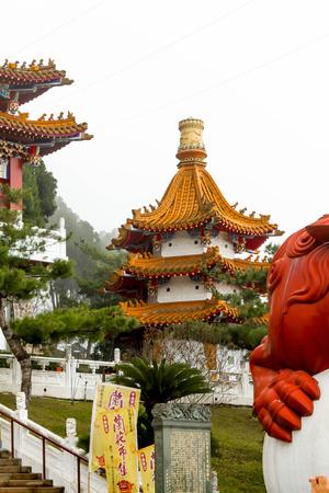 Closeup of Wenwu Temple in front of Sun moon lake,Taiwan
