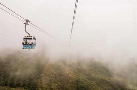 Views of cablecar way with fog to Nongping village ,Hongkong Reklamní fotografie