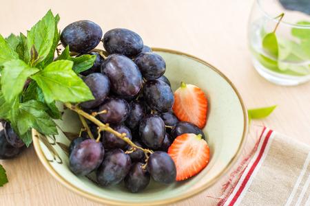 currant: Black currant grapes strawberries