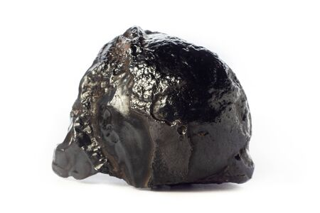 Rock of shiny goethite mineral from Morocco isolated on pure white background