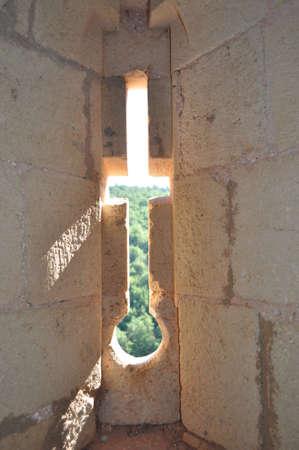murderess: Window crosshair in a castle Stock Photo