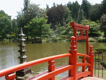 ponte giapponese: ponte rosso giapponese e stagno zen