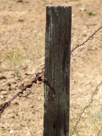 barbed wire and fence: Barbed Wire Fence Post