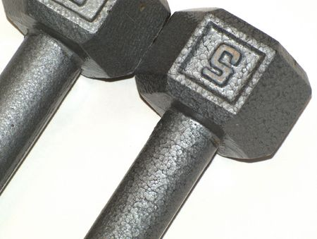 Closeup of five pound barbells used for exercise and weight training