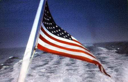 U.S. Flag at back of boat Stock fotó