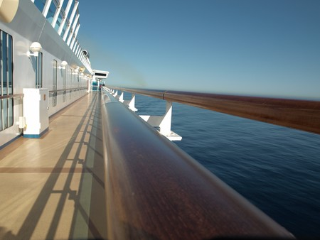 Cruise Ship View along deck railing