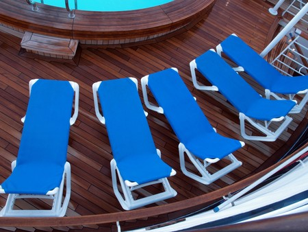Cruise Ship Lounge Chairs on Deck photo