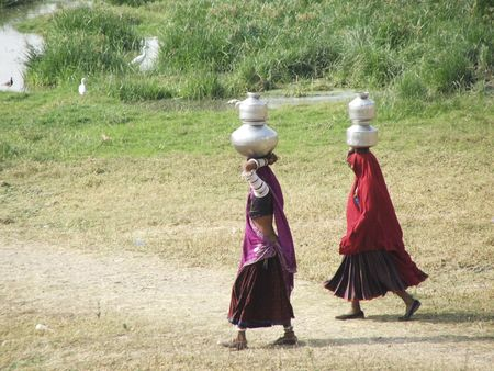 indore: two rajistani women carrying water jars on their heads walking to the pond on a dirt trail with some greenery around them in Indore Madhya Pradesh India