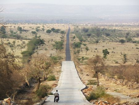 indian man on a motor bike in rajistan stopping for a moment in an open area long straight road and small trees in background