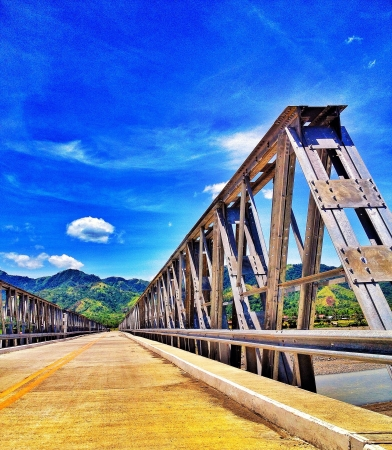 architecture: a long concrete bridge of Valderrama  Antique province Philippines