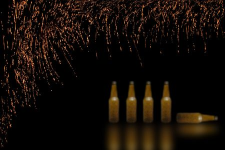 smooth bottes with fireworks in black background Stock Photo - 5847628