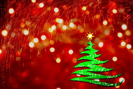 stylized Christmas tree on red background with lights photo