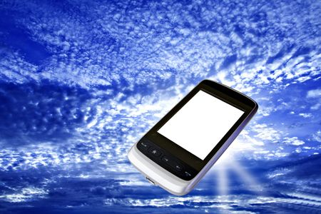 modern cell phone with white screen floating in bright blue sky Stock Photo - 6196298