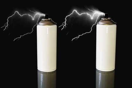 pressurized: two white spray can with lightning storm in black background