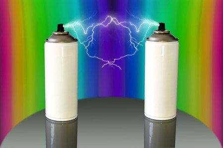 two white spray can with lightning storm in colorfull background photo