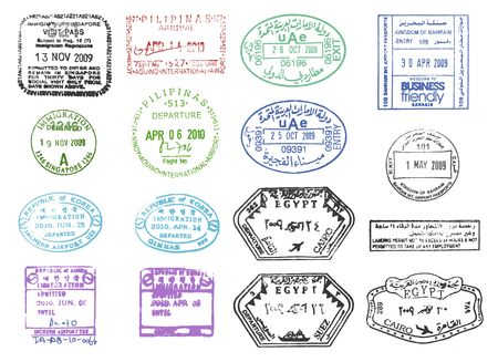 Bahrain: collection of various clear passport stamps  Stock Photo