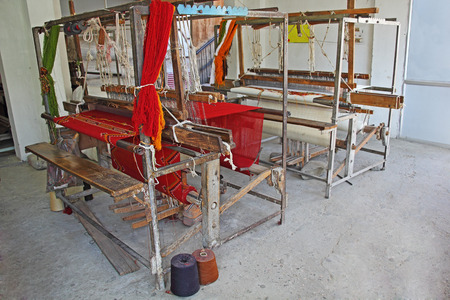 handloom: Abandoned old age handloom machine for making cloths and fabrics from India. Technological progress overtook manually operated machines like this.