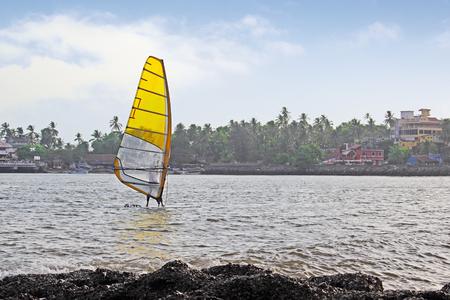 paula: Windsurfer at Dona Paula bay in Goa, India