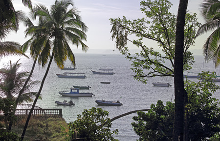paula: Tranquil morning scene of fishing, tourist and speed boats anchored at Dona Paula bay in Goa, India. Stock Photo