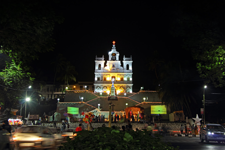 Panjim, Goa, India - December 29, 2016: Historic Our Lady of the Immaculate Conception Church in Panjim decorated and illuminated during the Christmas and New Year season Editorial