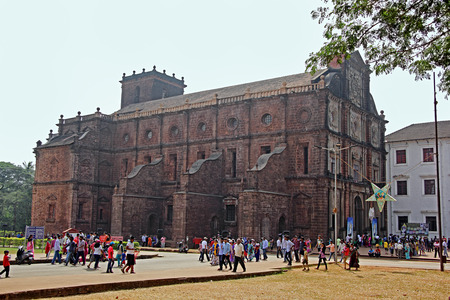 mortal: Goa, India - December 27, 2015: The historic Basilica of Bom Jesus in Old Goa, India, a UNESCO World Heritage Site where the mortal remains of St Francis Xavier is kept