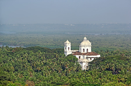 The Church of St. Cajetan viewed form Monte Hill in Old Goa, India. A 17 th century church in Corinthian style that mimic St. Peters Basilica in Rome and crowned with a big hemispherical dome Stock Photo