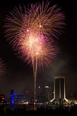 Fireworks Display Over Downtown Jacksonville, Fl