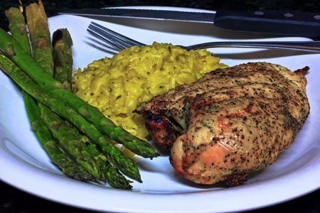 Grilled Lemon Pepper Chicken with Asparagus and Rice Au Gratin