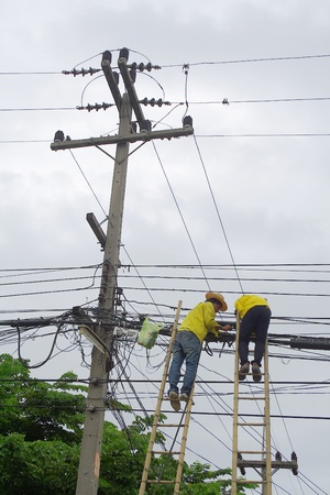 telephone pole: Two technicians repair cable on bamboo ladders