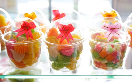 Cups of Thai sweetmeats photo