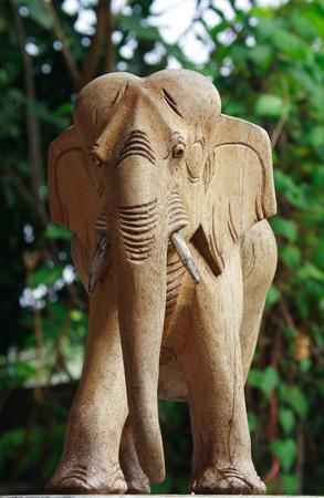 Asian elephant carve made by wood photo