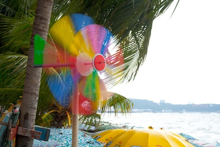 wind force wheel: The colorful weather vane at the beach