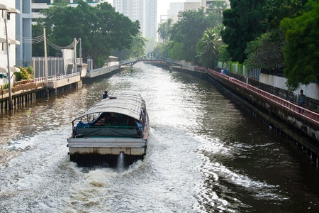 Motor passenger boat on canal in city Stock Photo - 12159783